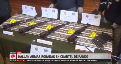 Peru entrega fuzis roubados de quartel boliviano em Pando em junho passado