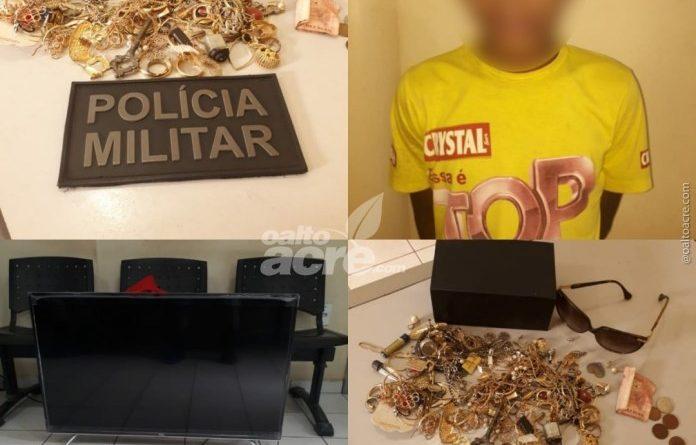 Acusado de vários furtos em Brasiléia é detido por populares levando TV nas costas